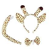 LUOEM Giraffe Kostüm Giraffe Ohren Stirnband Schwanz Kostüm Zubehör Set Tier Fliege für...