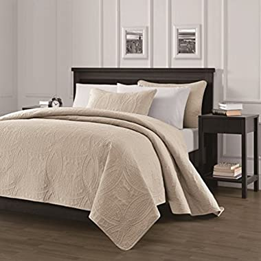 Chezmoi Collection Austin 3-piece Oversized (118 x106 ) Bedspread Coverlet Set King, Khaki