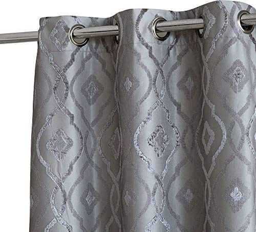 HLC.ME Trellis Decorative Pattern Winter Thermal Insulated 100% Blackout Energy Savings Darkening Floor Length Window Curtain Drapery Grommet Panels for Bedroom, Set of 2 (37 x 84 Long, Charcoal Grey)