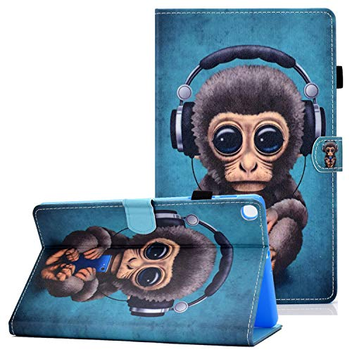 Coopts Case for Samsung Galaxy Tab A 10.1 SM-T510/ T515 2019, PU Leather Anti-Slip Strips Kickstand Protective Cover with Pen Holder for Samsung Galaxy Tab A 10.1' SM-T510/ SM-T515, Music Monkey