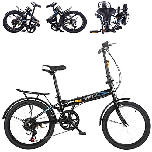 "20"" High Tensile Steel Folding Bike Mini Bicycle Compact Bikes for Students, Office Workers, Urban Environment and Commuting to Work (Black)"