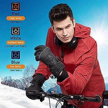 Fasola Gant Chauffant avec Batterie pour Femmes Hommes, 3.7V 4000mAh Gant d'hiver Chaud Rechargeable électrique avec 3 Modes de Chauffage pour la Randonnée Hivernale Cyclisme Pêche Ski-M
