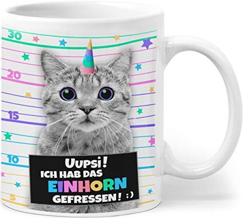 Orange9 Geschenk Einhorn Tasse mit Katze | Katzentasse | Caticorn | Ich hab das Einhorn gefressen! | Geschenk zum Geburtstag Katzentasse Katzenmotiv