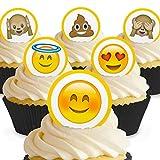 Cakeshop 24 x Vorgeschnittene und Essbare Emoji Kuchen Topper (Tortenaufleger, Bedruckte Oblaten,...