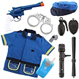 10 Pcs Police Costume for kids with Toy Role Play Kit with Intercom, police badge, handcuffs and kids flashlight,great for HALLOWEEN costume, FBI,Detective,Swat, and Kids Dress-up clothes