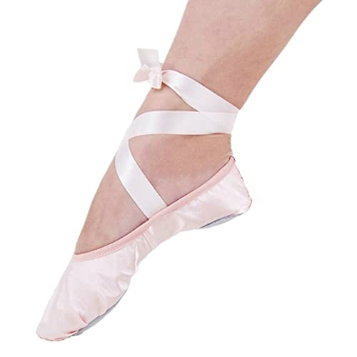 d1c458b45a3f APTRO Ballet Shoes Split Sole with Satin Gymnastics Dance Shoes Flats for  Girls Adults with Ribbons