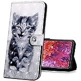MRSTER Huawei Y7 2018 Handytasche, Leder Schutzhülle Brieftasche Hülle Flip Hülle 3D Muster Cover mit Kartenfach Magnet Tasche Handyhüllen für Huawei Y7 2018 / Honor 7C. BX 3D - Smiley Cat