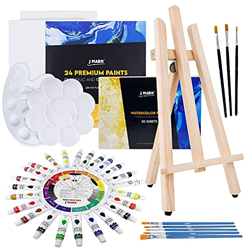 Acrylic and Watercolor Paint Set Supplies – 40-Piece Art Canvas Painting Kit for Adults Includes Wood Easel 2 Canvases 8x10 inch, 24 Paints, Watercolor Paper, 8 Brushes,2 Palettes, Color Mixing Guide