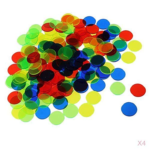 T TOOYFUL 400 Packungen Bingo Chips Translucent Counters Tokens Spiel Game Colourful 1.5cm