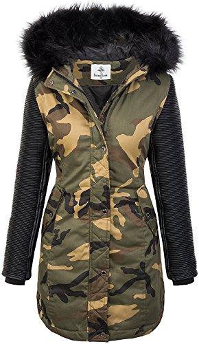 Rock Creek Damen Winter Jacke Parka Camouflage Mantel Army Jacke Bikerjacke Winterjacken Outdoorjacke Damenmantel Kunstleder Ärmel Kapuze D-349 Schwarz M