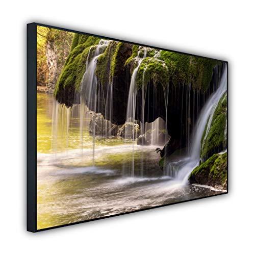 STEINFELD Heizsysteme® Wandheizung Glas Bild Infrarotheizung | Deutscher Hersteller | viele Motive 350-1200 Watt Rahmen schwarz (500 Watt, 003 Wasserfall)
