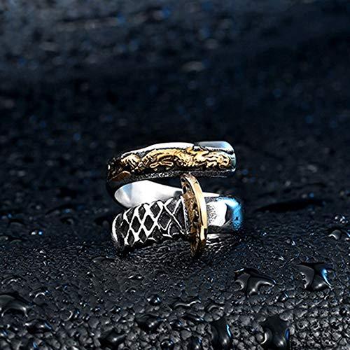 Keai Titan-Stahl gegossen Samurai Messer-Druck goldenen Drachen Form Ling offene Dose Ring Schmuck