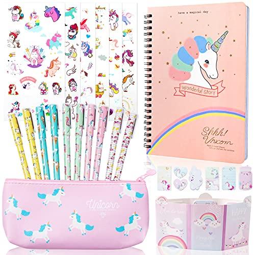Jolintek Unicornio Cuaderno Bonitos e Notas,25 Piezas Set de Papelería Estuche Escolar de Unicornio bolígrafo y Pegatina de Papelería para el Colegio y La Oficina Regalo de Cumpleaños