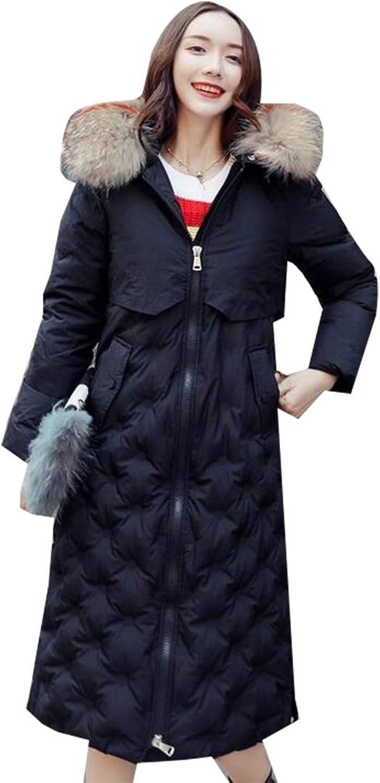 Women Puffer Coat Detachable Plush Lined Fur Trim Hood Long Down Jacket