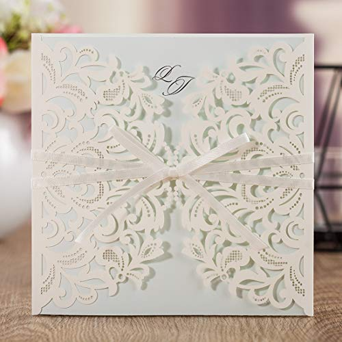 Wishmade Laser Cut Square Invitations Cards Kit for Wedding Party Birthday with Tri-fold Printable Insert Pages AW7015 (1)