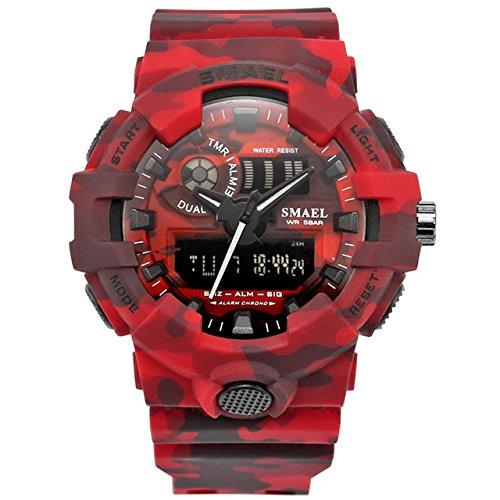 smael Nuevo Camuflaje Militar Reloj Deporte Relojes LED Reloj Digital Hora Dual Reloj de Pulsera Hombres del Ejército Reloj Impermeable 8001Serie