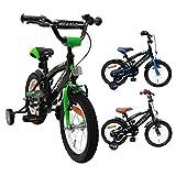 BMX Fun - Velo Enfant - 14 Pouces - Garçon - 3 Ans - avec Frein à rétropédalage - Noir/Vert