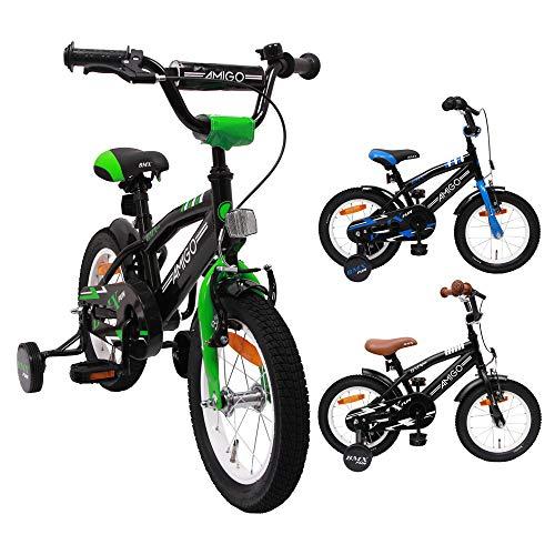AMIGO BMX Fun - Kinderfahrrad - 14 Zoll - Jungen - mit Rücktritt und Stützräder - ab 3 Jahre - Schwarz/Grün