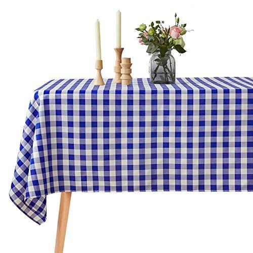 VEEYOO Mantel a Cuadros a Prueba de derrames Poliéster - Resistente a Las Manchas Mantel sin Arrugas (Rectángulo Manteles, 152x259 cm, Blanco y Azul)