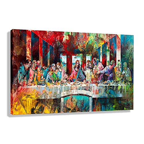 Orlco Art Abstract Canvas Prints Jesus Christ Wall Art Photos of Oil Painting The Last Supper Pop Art Modern Home Decor Poster for Living Room Colorful 16' X 12'