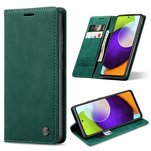 ivencase Handyhülle Kompatibel mit Samsung Galaxy A52 5G Hülle, mit Kartenfach Geld Slot Ständer Flip Schutzhülle für Samsung A52 5G Wallet Hülle PU Leder (Grün)