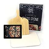 Dolce Mare Pizza Stone - Pierre à Pizza en cordiérite de Haute qualité pour Le Four et Le Gril - Brique pour Pizza croustillante comme avec l'italien - Glissière à Pizza Incluse