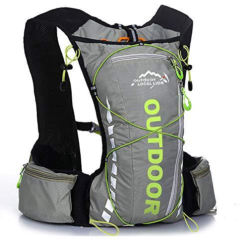 Outdoor Bag Trinkrucksack mit 2 Liter Wasserblase Geeignet für Radfahren Camping Klettern Perfekte Outdoor Wandern Laufen für Männer Frauen Rucksack Travel-grey-Onesize