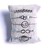Simsly Ensembles de 5 bracelets multicouches en forme de cœur avec perles et chaîne fantaisie porte-bonheur pour femmes et filles (argent)