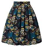 GRACE KARIN Falda Corta de Fiesta Estampado Floral Pin Up Retro Corta 42# L