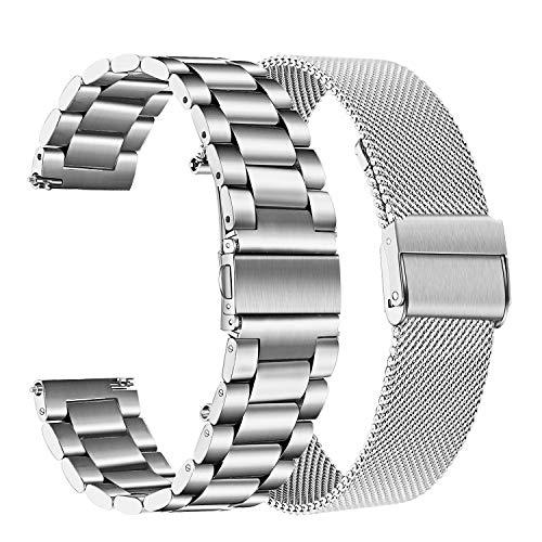 TRUMiRR Ersatz für Galaxy Watch Active2/Galaxy Watch Active Armband, 20mm Solide Edelstahl Uhrenarmband Mesh Metall Armband Business Sports Ersatzband für Samsug Galaxy Watch 42mm,Galaxy Watch Active