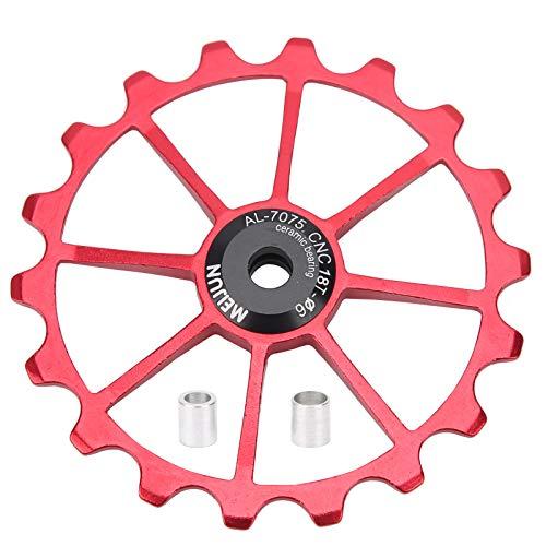 FOTABPYTI Rodillo de guía Trasero, Accesorio de Ciclismo fácil de Instalar, Mano de Obra Fina, 72 mm / 2,83 Pulgadas para Bicicletas(Red)