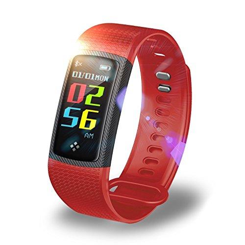 ZZY Rastreador de Fitness, Pulsera Bluetooth con Pantalla a Color, rastreador de Fitness Inteligente, Monitor de presión Arterial/frecuencia cardíaca/sueño, Pulsera de Paso Impermeable para
