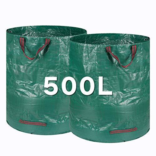 Kyrieval Gartensack 500L Laubsack Gartenabfallsäcke aus robustem PP-Gewebe 2 STK