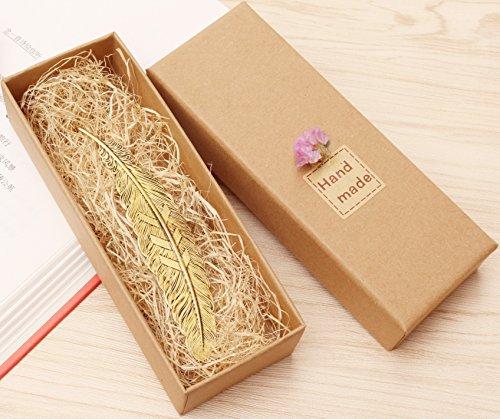 eMosQ - Marcapáginas clásico de latón, diseño creativo de pluma, hecho a mano, en una bonita caja de regalo, color bronce vintage