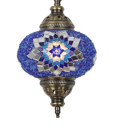 2019 Hängelampe, handgefertigt, Mosaik-Lampe, 41,9 cm hoch, 17,8 cm groß, türkisches marokkanisches Glas, Laterne, arabisches Glas, helles Bronze (kobalt)
