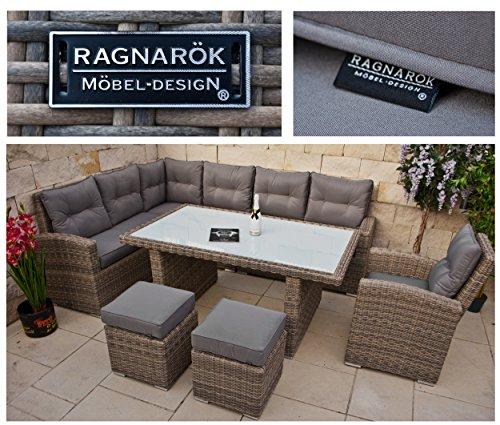 RAGNARÖK hohe Dinning Lounge - DEUTSCHE Marke - 8 Jahre GARANTIE EIGENE Produktion - PolyRattan Gartenmöbel Essgruppe Hocker Sessel verstellbare Lehn Naturfarben Rundrattan - 3