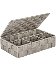 WENKO Organizer Adria small with lid Taupe - bathroom basket with lid, 4 separations, Polypropylene, 26 x 7.5 x 17 cm, Taupe