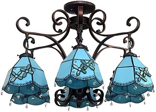 Arañas de estilo Tiffany, lámpara de colgante mediterránea azul, 6 luces, decoración multicolora de vidrio de vidrio de montaje en color de techo colgante de techo accesorio para sala de dormitorio