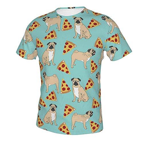 Men Boys Short Sleeve Crewneck T-Shirts Lightweight Comfort Sportswear Tees Funny Vector Dogs Pug Puppies Pattern Pizza 2XL