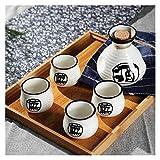 250ml Vintage Cerámica Sake Pot con 4 tazas Conjunto Japonés Cocina Sake Bottle Spirit Set