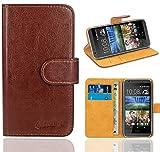 HTC Desire 620 Handy Tasche, FoneExpert® Wallet Hülle Flip Cover Hüllen Etui Ledertasche Lederhülle Premium Schutzhülle für HTC Desire 620 (Braun)