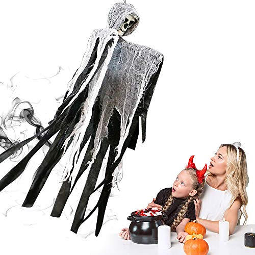 Morfone decoración de Fantasmas de Halloween, decoración de Halloween Parca de Postura Ajustable, decoración de Terror Colgante 90 * 60 cm
