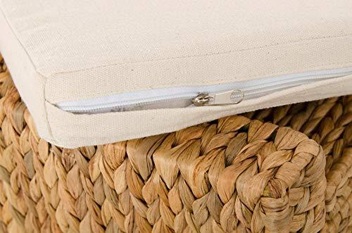 Vivanno Sitzhocker aus Wasserhyazinthe Mono Plus, 57 cm breit, Natur - 5