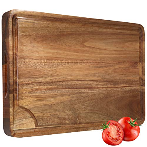 Large Wood Cutting Board for Kitchen 18x12x1.5 Thick Cheese Charcuterie Board (Gift Box Included) Acacia Non-slip Reversible Butcher Block with 3 Compartments, Handles and Juice Groove by AZRHOM