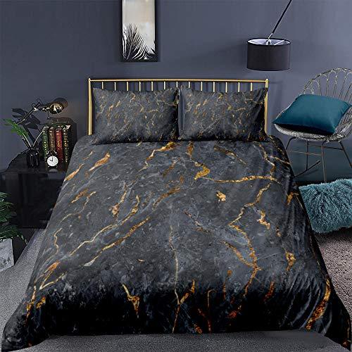 ARTEZXX Parure de Lit Marbre Or Noir 3 pièces Housse de Couette Microfibre Confortable Ensemble de Literie + 2 xTaies d'oreiller pour Les Enfants Adultes 240 x 220 cm