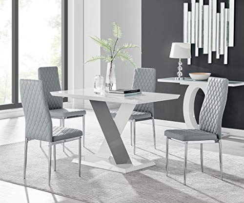Furniturebox UK Monza 4 Seat White and Grey High Gloss Rectangular Dining Table Modern Contemporary Table Design with 4 Grey Milan Faux Leather Dining Chairs