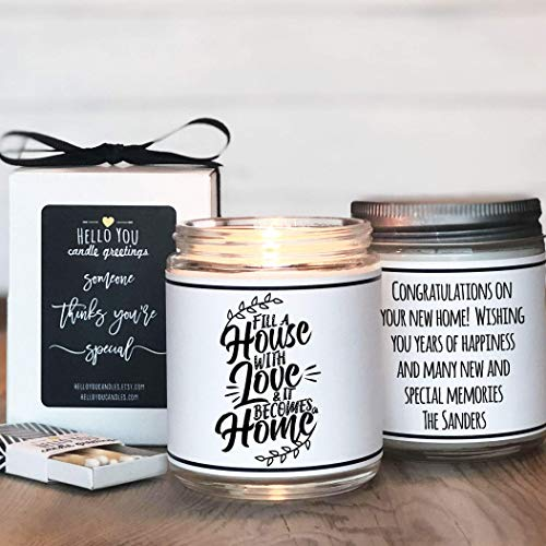 Housewarming Candle Neighbor Home Sweet Home Happy New Home Gift Congrats Vegan Natural Soy Wax Welcome Comfort Warm Spice Scented