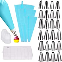 Vastar Cake Decorating Supplies Kit - 30 in 1 cake decorations, 24Pcs Professional Stainless Steel DIY Icing Tips with 3 Reusable Coupler & Storage Case & 3 Sizes Silicone Cake Decorating Pastry Bags
