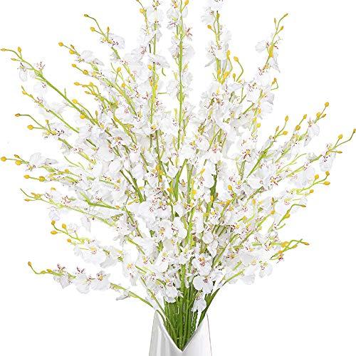 Greentime Künstliche Orchideen mit langem Stiel, 99,1 cm, 10 Stück, für Hochzeit, Zuhause, Büro, Party, Hotel, Heim, Hof, Restaurant, Terrasse, festliche Einrichtung, Blumenarrangement, Dekor (weiß)