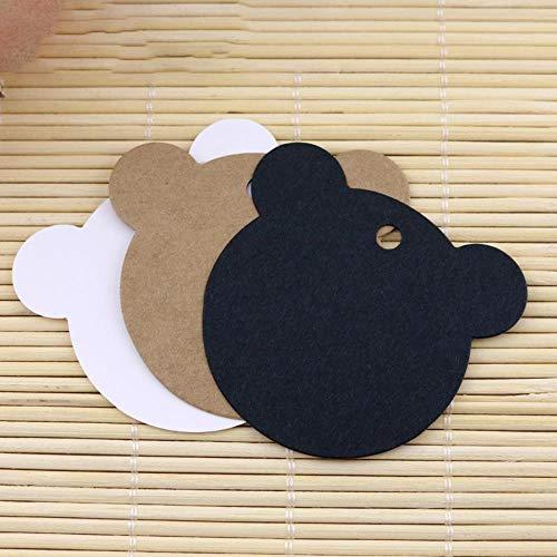 100pcs 6cm * 5.5cm Craft Paper Bear Cat Tarjetas de regalo Etiquetas Boda Decoración Tarjeta Scrapbooking Paper Crafts, Negro 100pcs